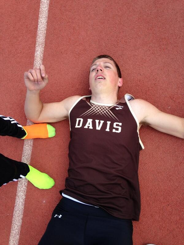 Trevor Leavitt of Davis UT after his 4x400 carry on Saturday. He split 46.6.